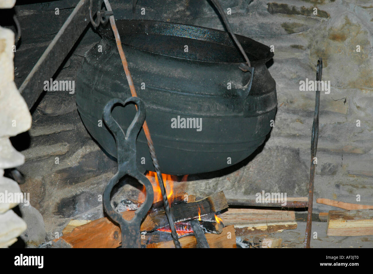 large pioneer cast iron pot used to cook burgoo over an open fire at fort kentucky usa