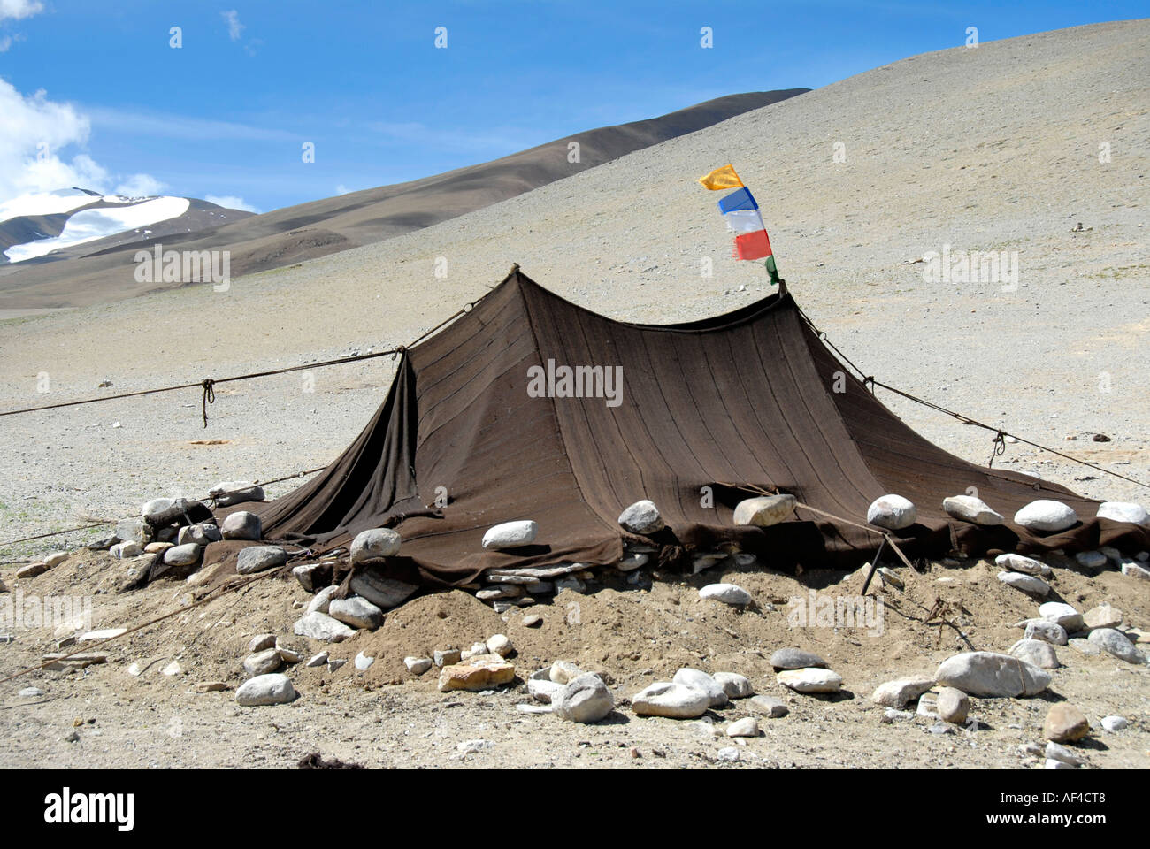 Tibetan Nomads tent with small prayer flag Everest region Tibet China & Tibetan Nomads tent with small prayer flag Everest region Tibet ...