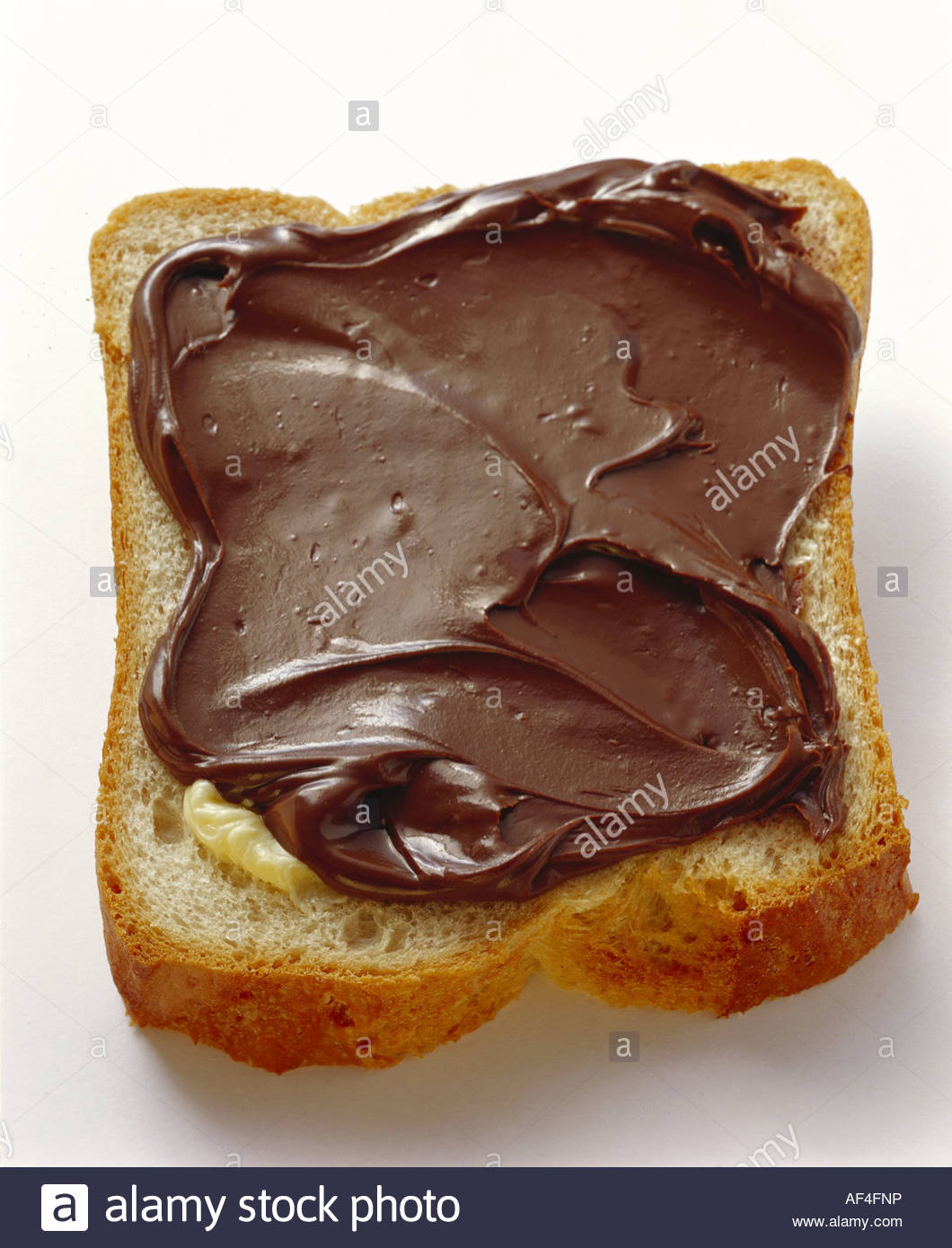 White bread and Nutella (nut and chocolate spread Stock Photo ...