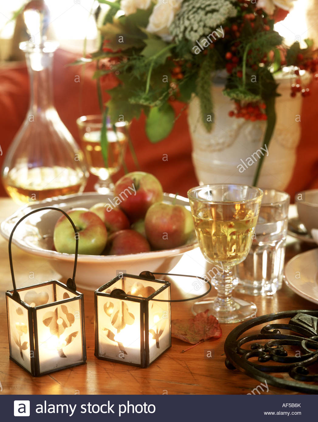 Table decoration for two - Stock Photo Two Small Hurricane Lamps As Autumnal Table Decoration