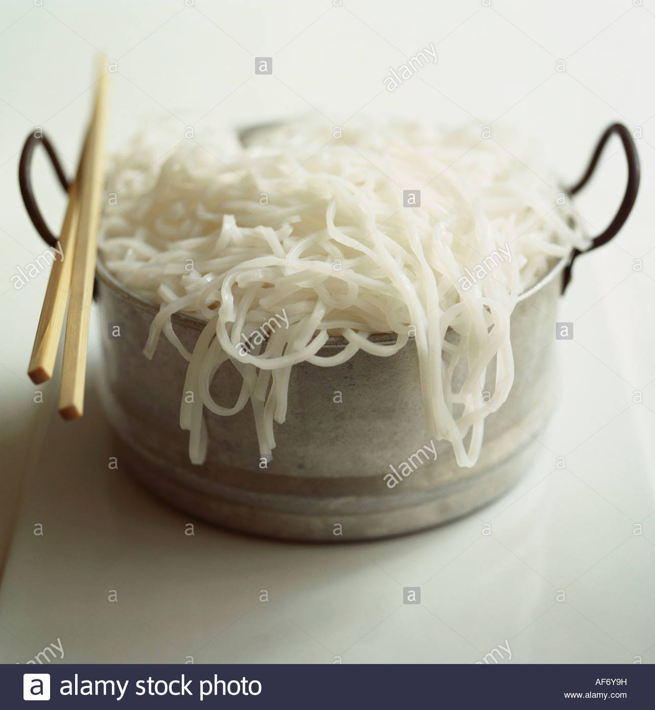 Cooked Rice Noodles In A Pot Cooked Rice Noodles In A Pot Stock Photo,  Royalty