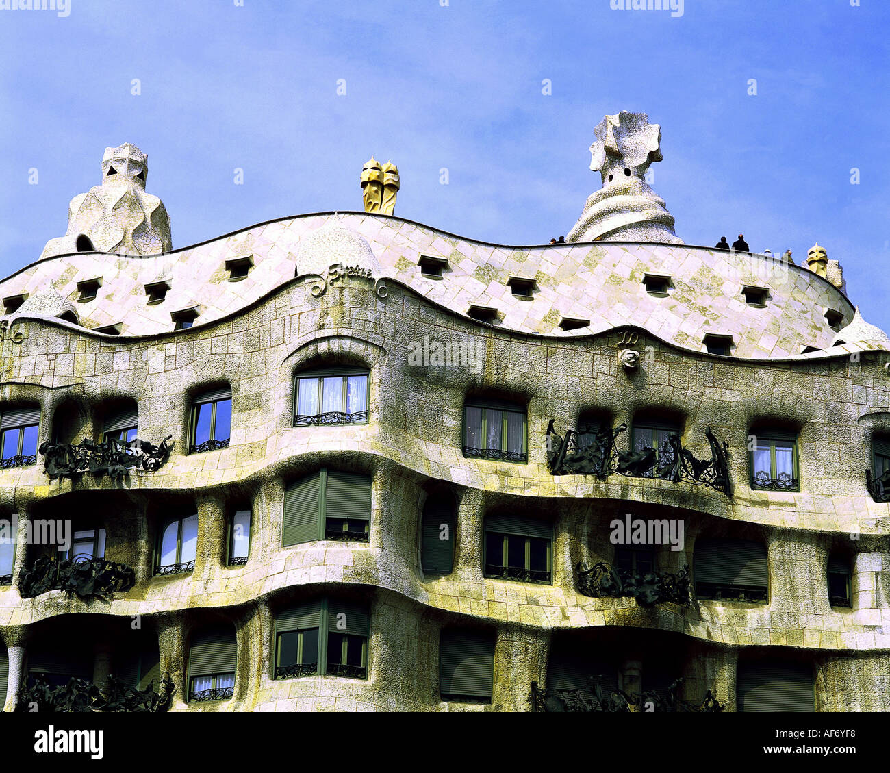 geography / travel, Spain, Barcelona, buildings, Casa Mila or La Stock Photo,...