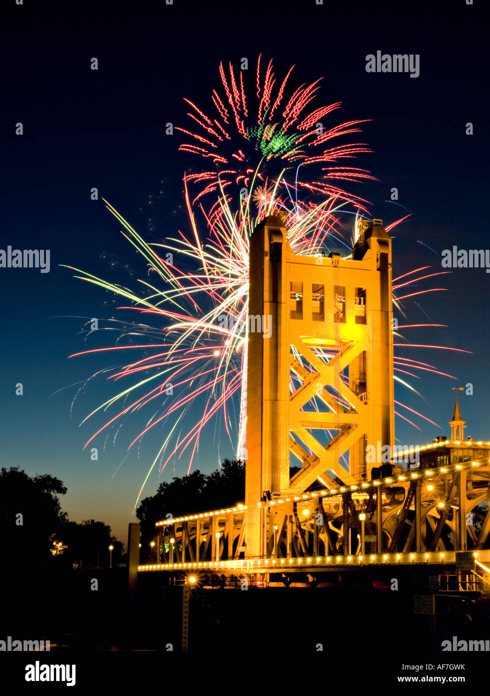 fourth of july fireworks exploded behind the tower bridge