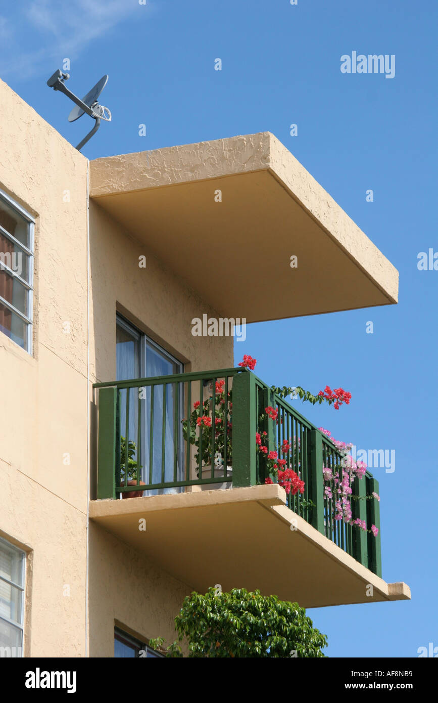 Miami beach florida south beach condominium balcony for Plural of balcony