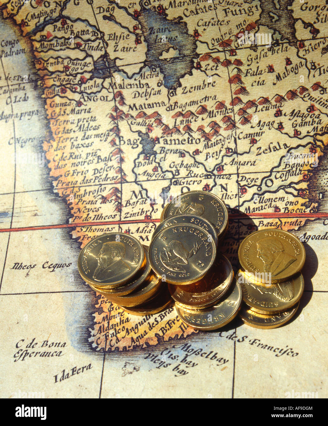 Kruger rand stock photos kruger rand stock images alamy gold kruger rand coins lying on an old map of south africa south africa stock buycottarizona