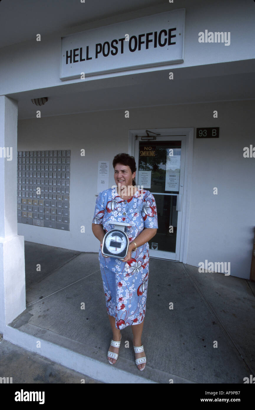 post office clerk stock photos post office clerk stock images grand cayman bwi hell female post office clerk born and raised in hell stock image