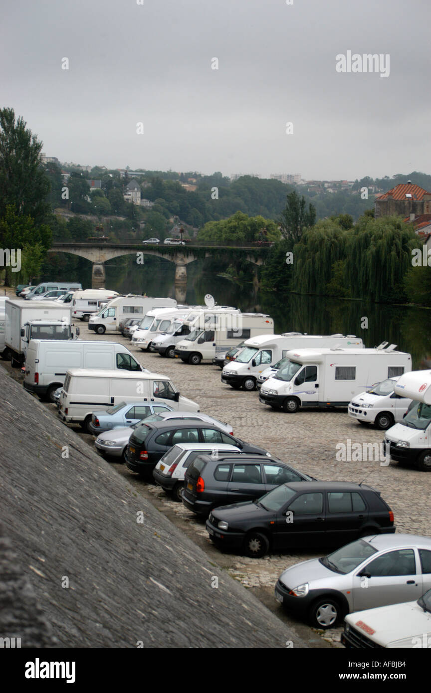 Mobile Homes And Caravan On The Banks Of River Dordogne