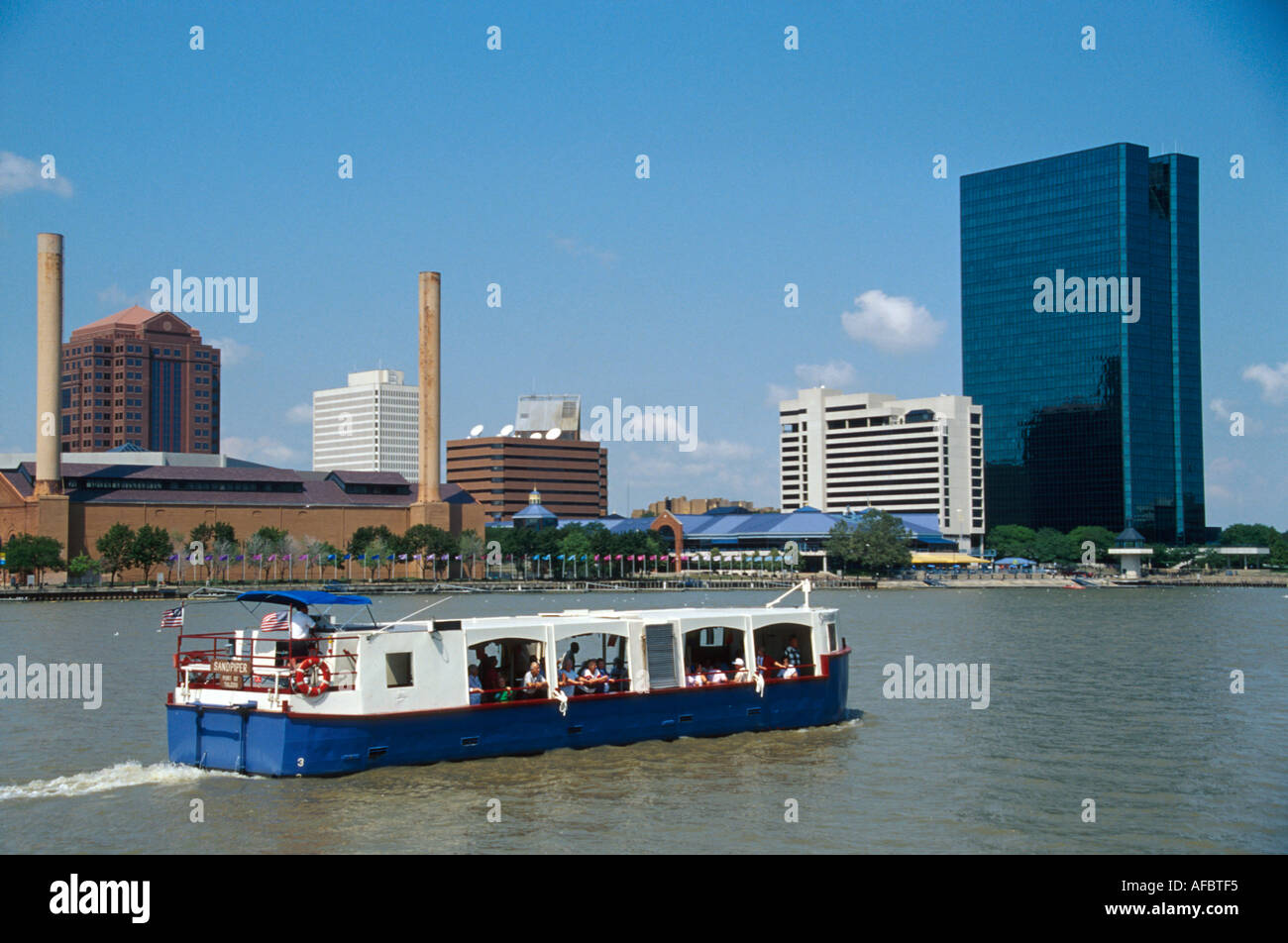 Ohio lucas county maumee - Stock Photo Toledo Ohio Maumee River Mv Sandpiper Tour Boat View From The Docks Ownes Illinois Building On Right