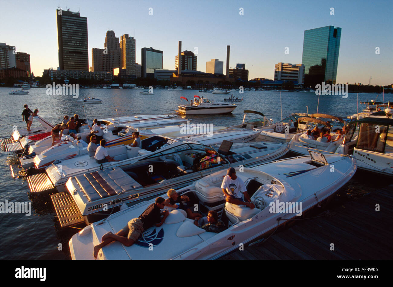 Ohio lucas county maumee - Stock Photo Toledo Ohio Maumee River Boats At The Docks Eastside City Skyline Beyond