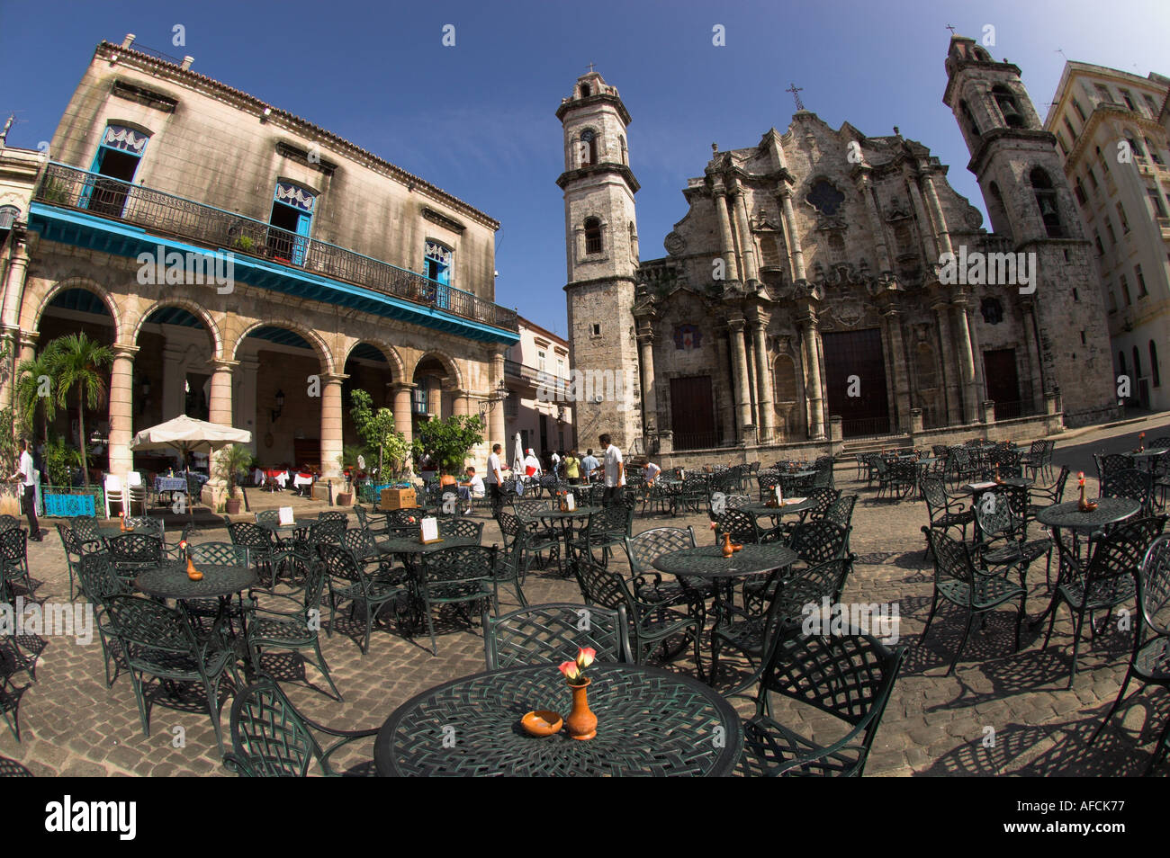 Cuba Havana Plaza De La Catedral Wide View With El Patio Cafe Terrace And  San Cristobal Cathedral