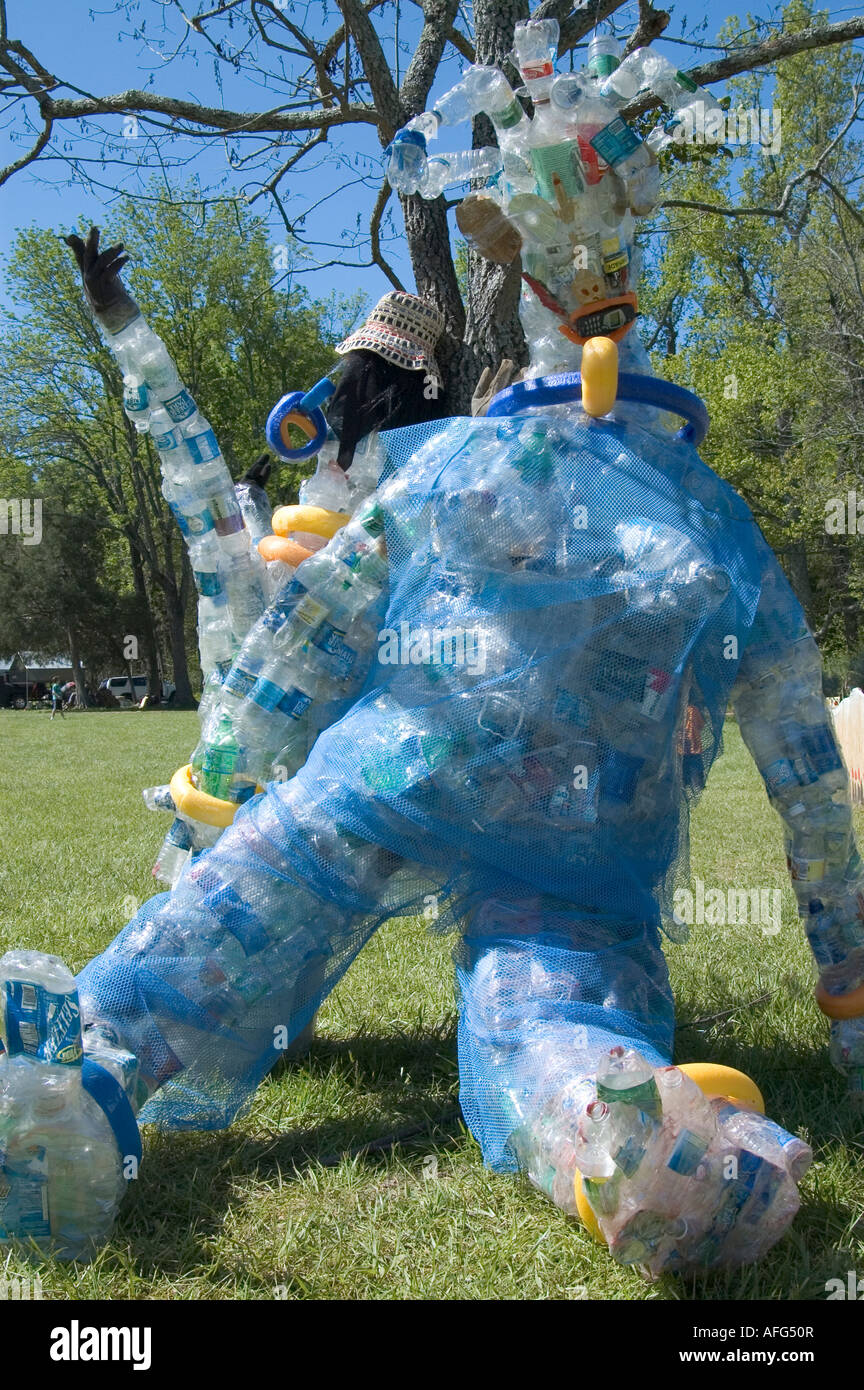 Large human shaped sculpture made from recycled plastic for Plastic water bottle art