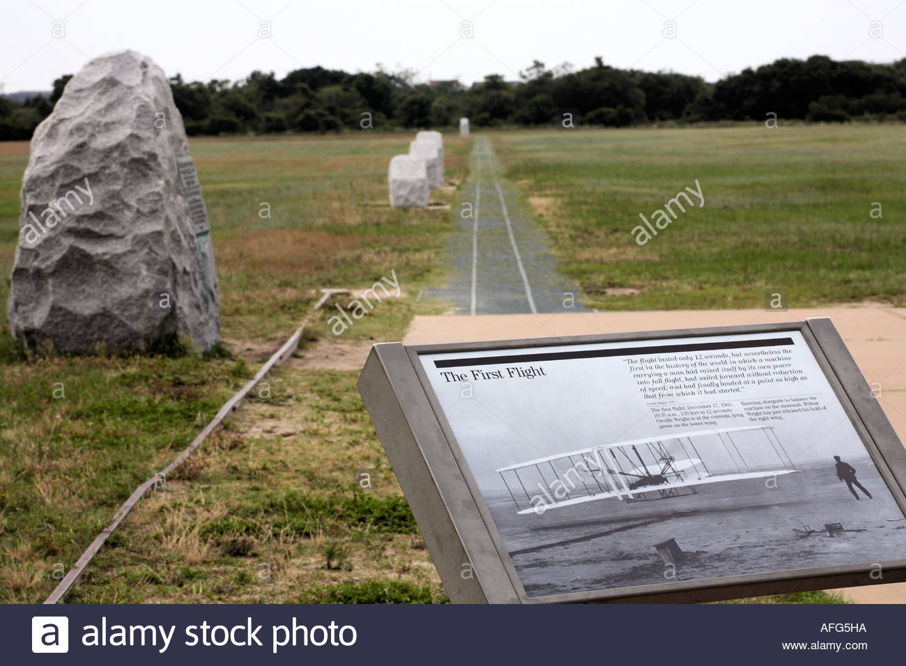 First Wright Brothers Flight with first flight path at the wright brothers national memorial stock