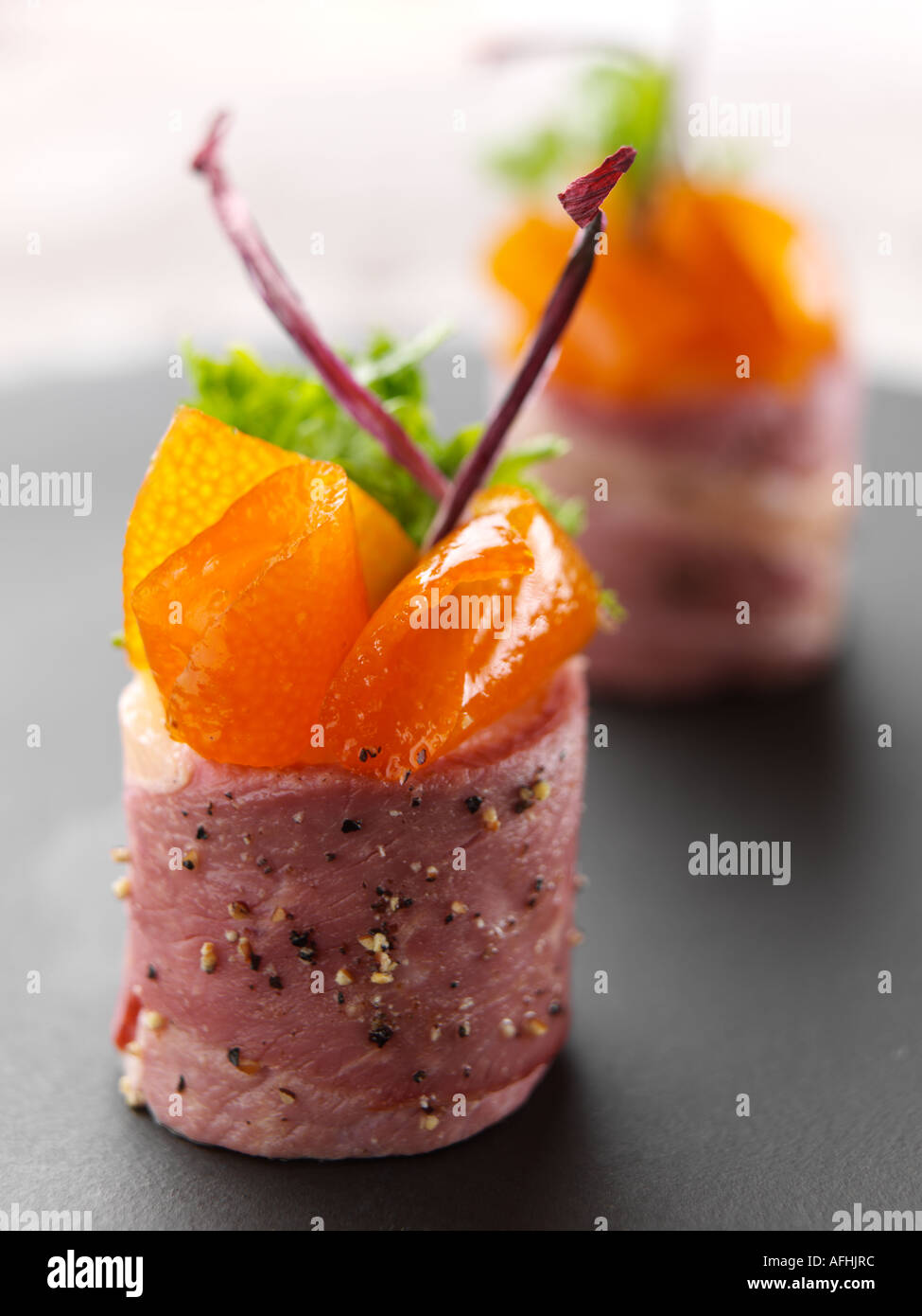smoked duck canapes stock photo royalty free image