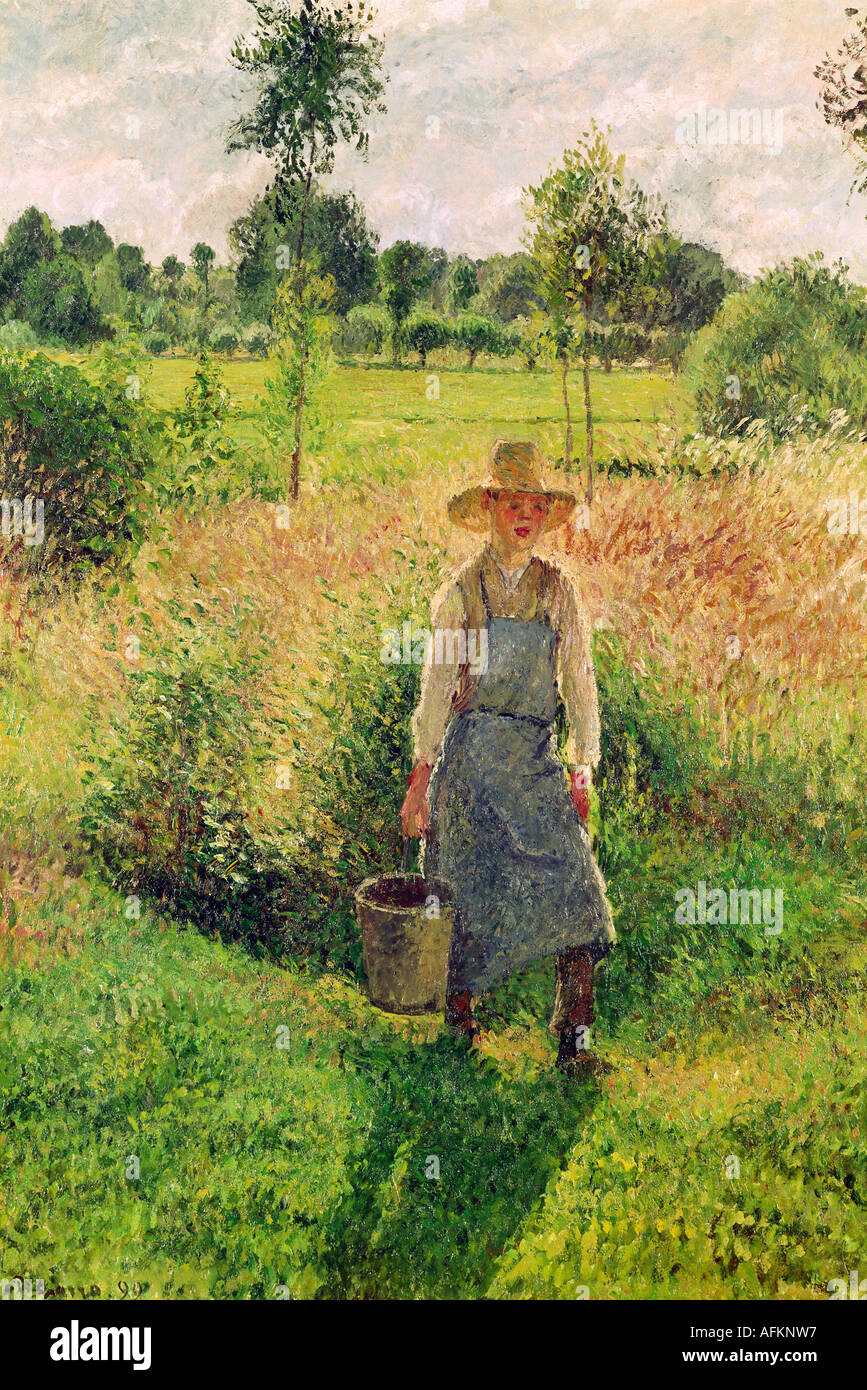 fine arts pissarro camille 1071830 13111903 painting the gardener 1899 oil on canvas staatsgalerie stuttgart