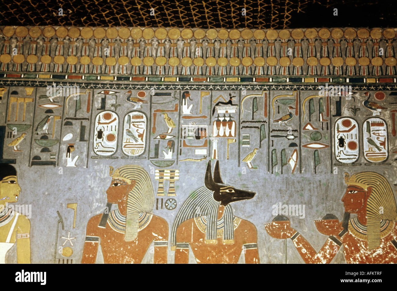 Geography travel egypt religion god anubis mural for Egyptian mural painting