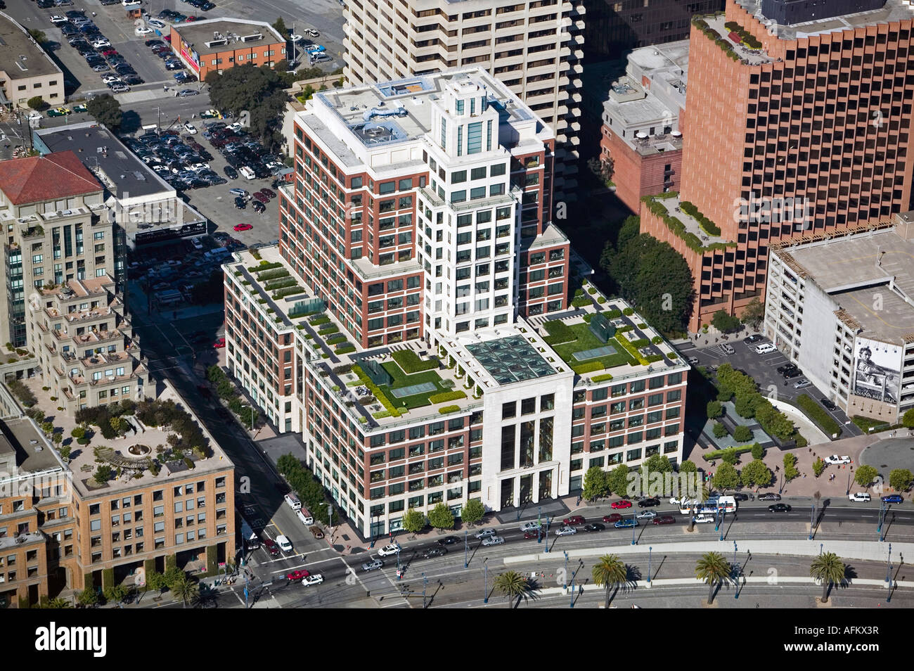 stock photo aerial view above the gap headquarters embarcadero san francisco designed by robert a m stern architects and gensler architect gensler location san francisco california