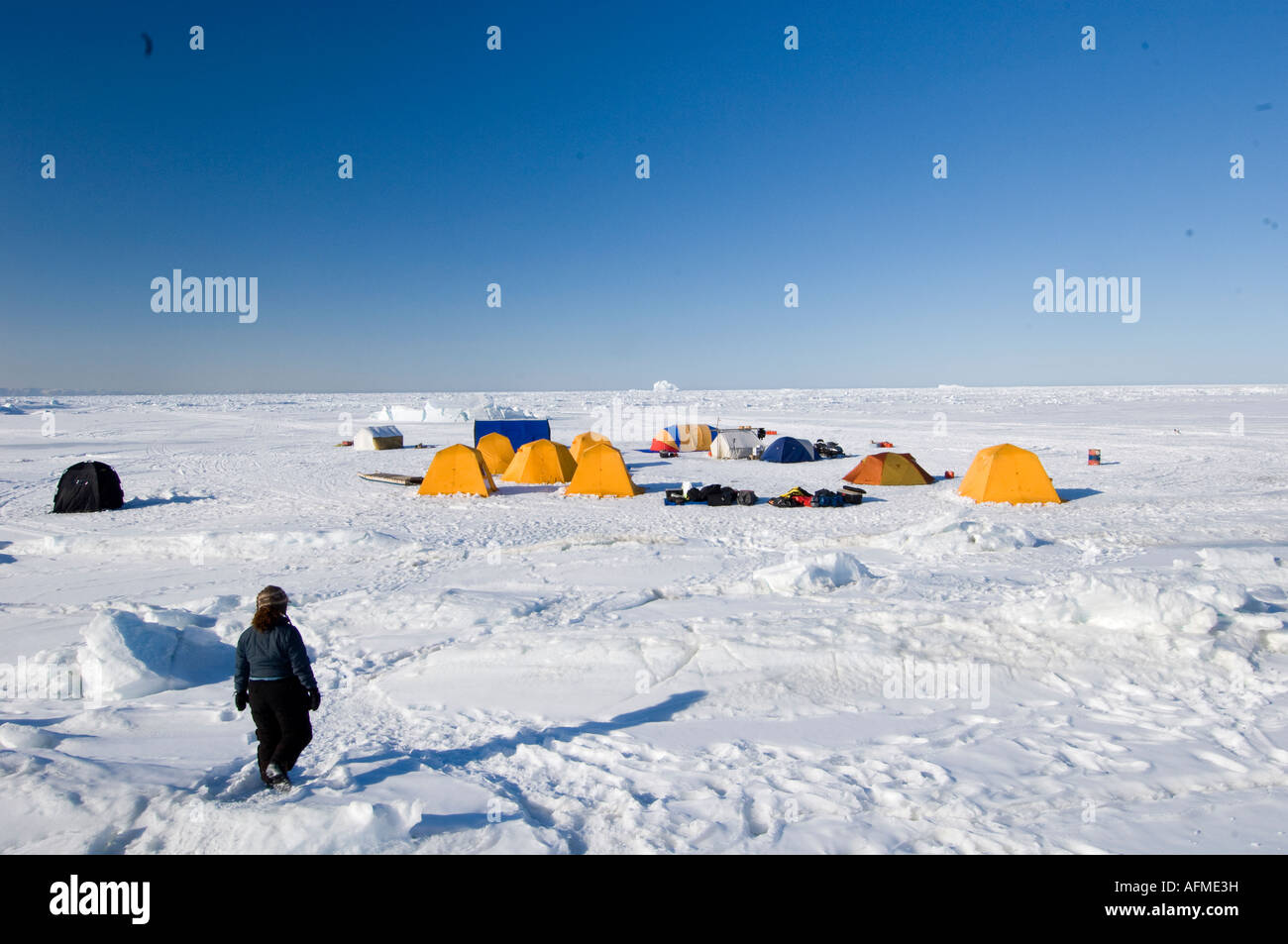 Small Arctic c& of tents on the sea ice at Lancaster Sound 2007 Arctic Kingdom marine expeditions & Small Arctic camp of tents on the sea ice at Lancaster Sound 2007 ...