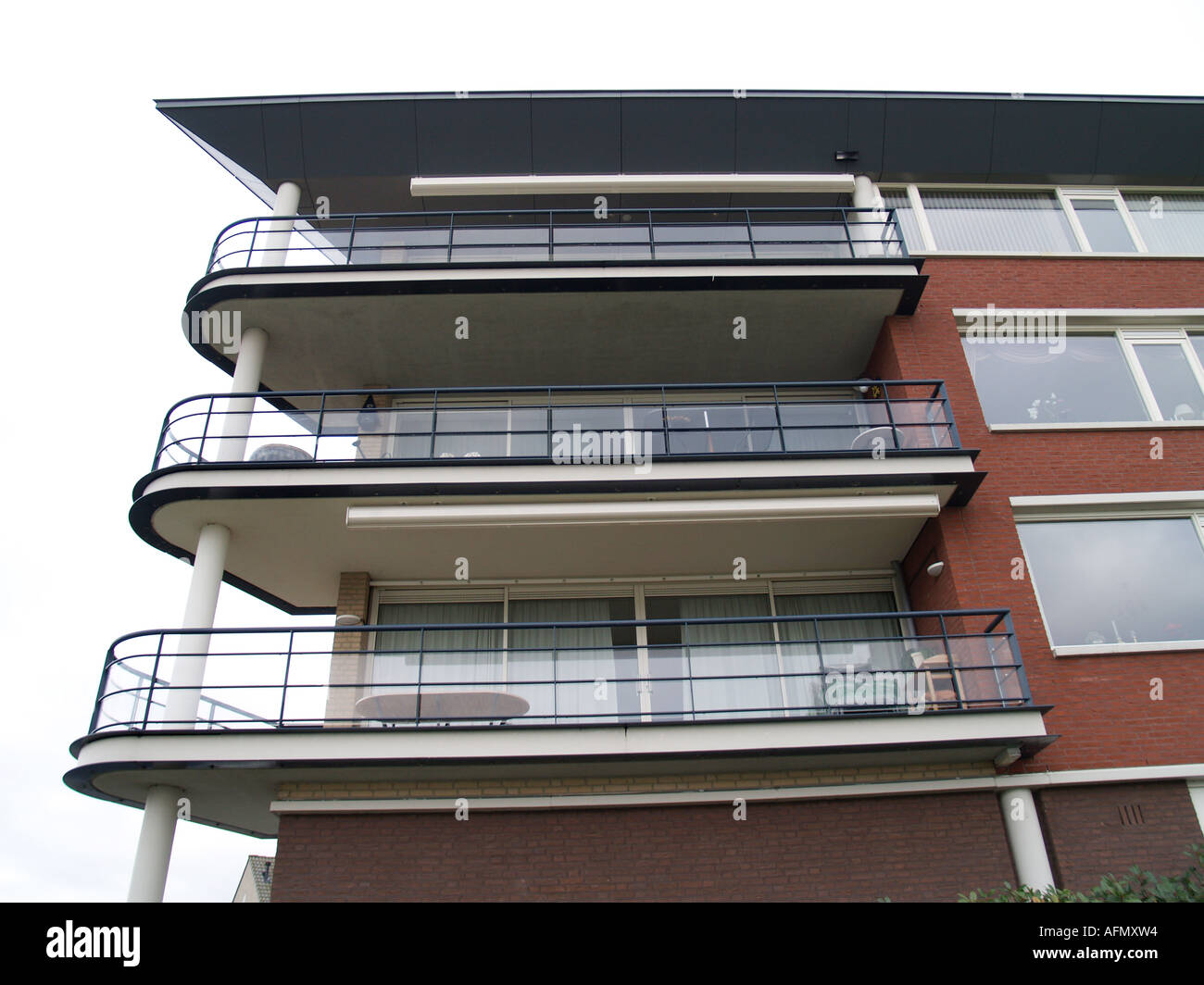 Balcony Of Apartment Building Flat With Modern Architecture Stock