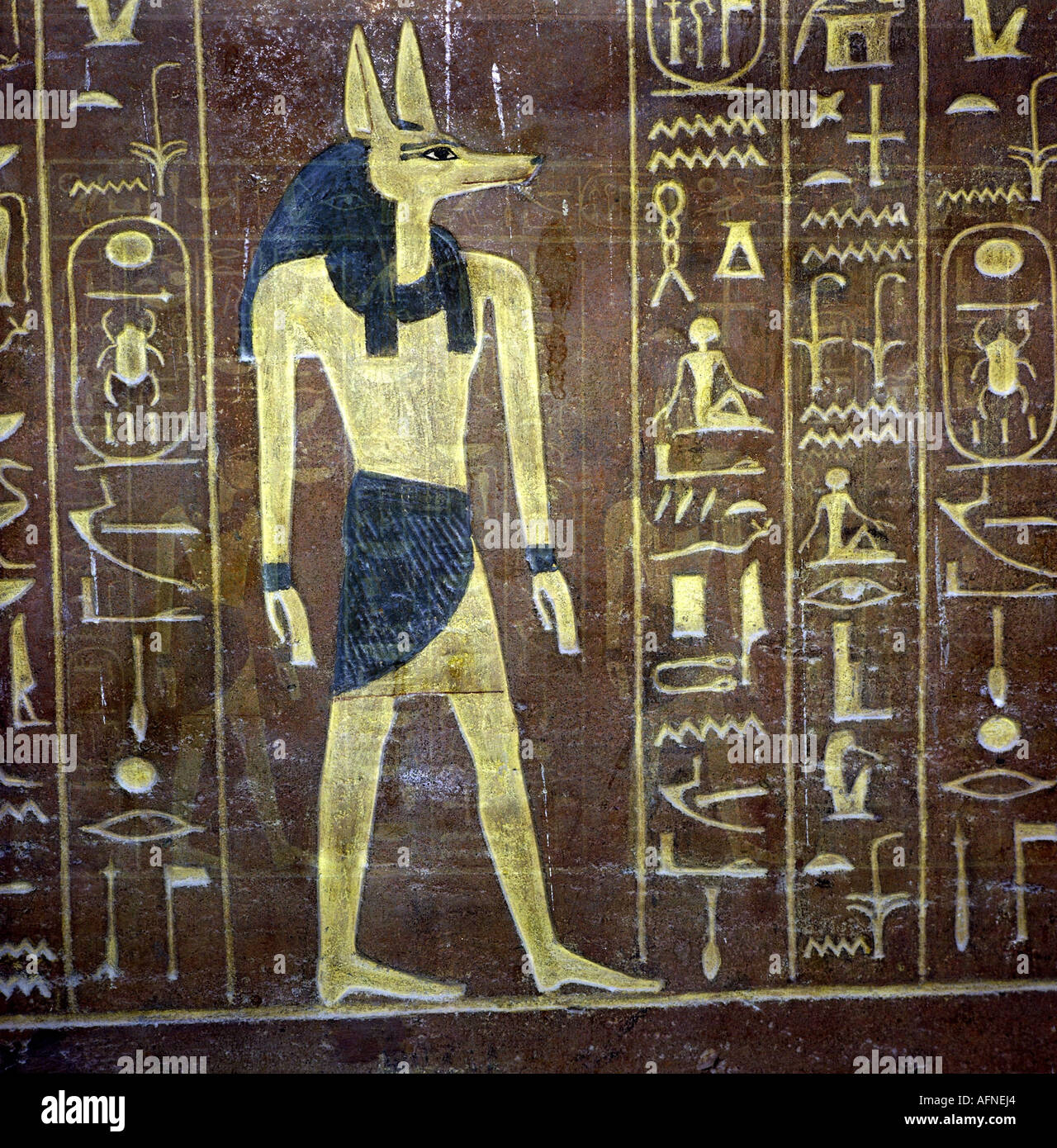 Geography travel egypt religion god anubis mural for Egypt mural painting