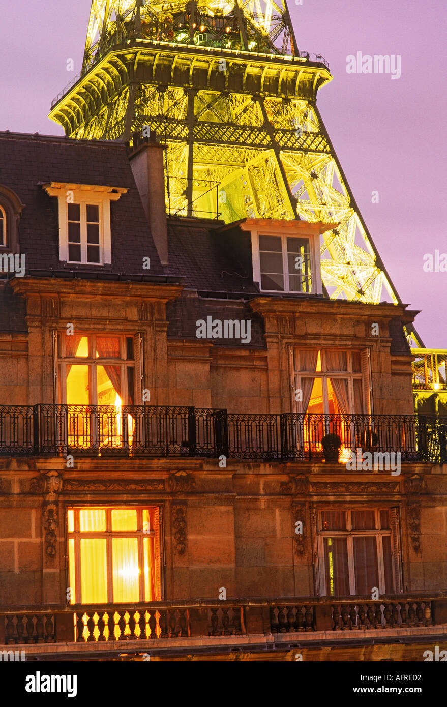 Top Floor Apartment With Eiffel Tower At Night   Stock Image