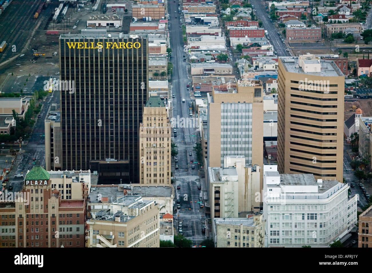 Aerial view above wells fargo el paso texas mexican for El paso america