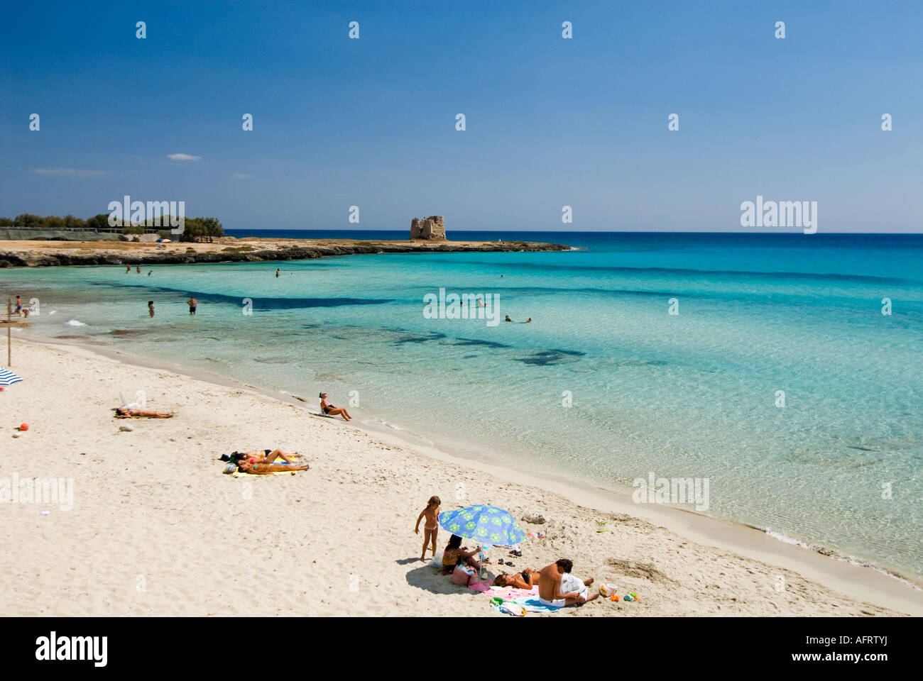 beaches of puglia near porto cesareo southern italy stock