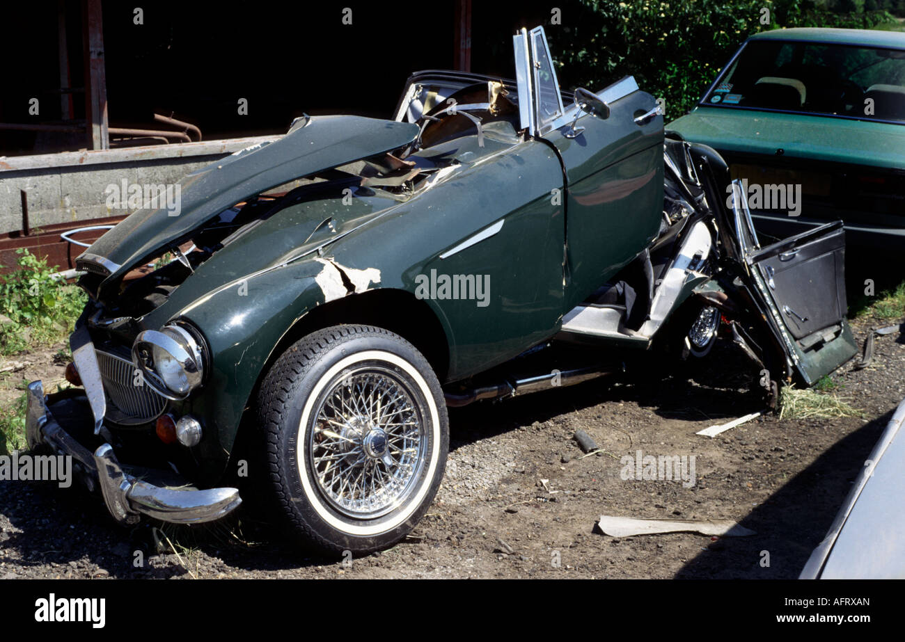 Wreckage Of Accident Damaged Classic Austin Healey Stock