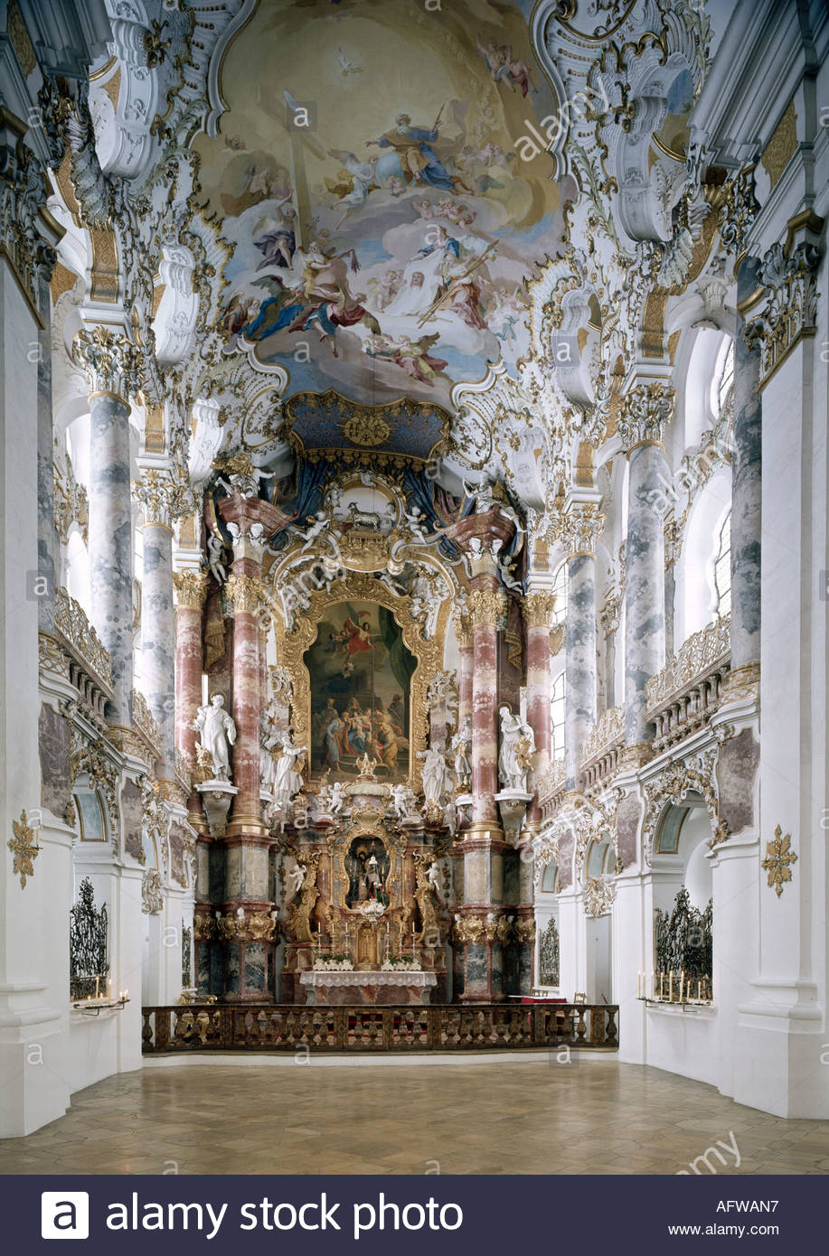 Architecture Churches And Convents Germany Bavaria Steingaden Schongau Wieskirche Interior View High Altar 1745