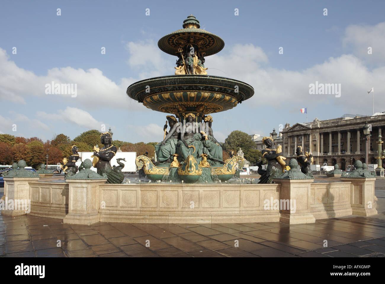 place de la concorde la fontaine des mers paris france fountain stock photo royalty free. Black Bedroom Furniture Sets. Home Design Ideas