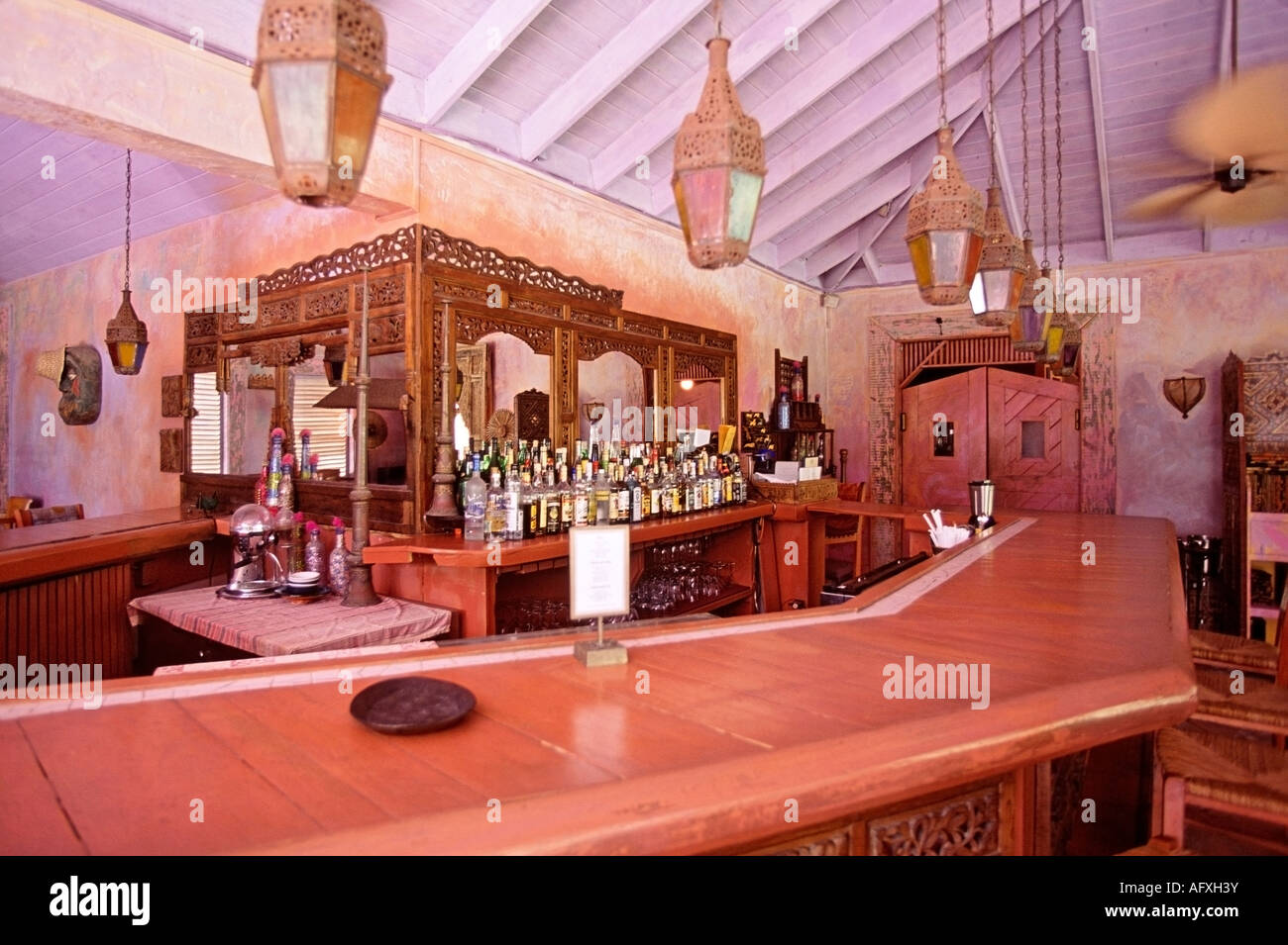 bar at the pink sands hotel in harbour island bahamas stock photo