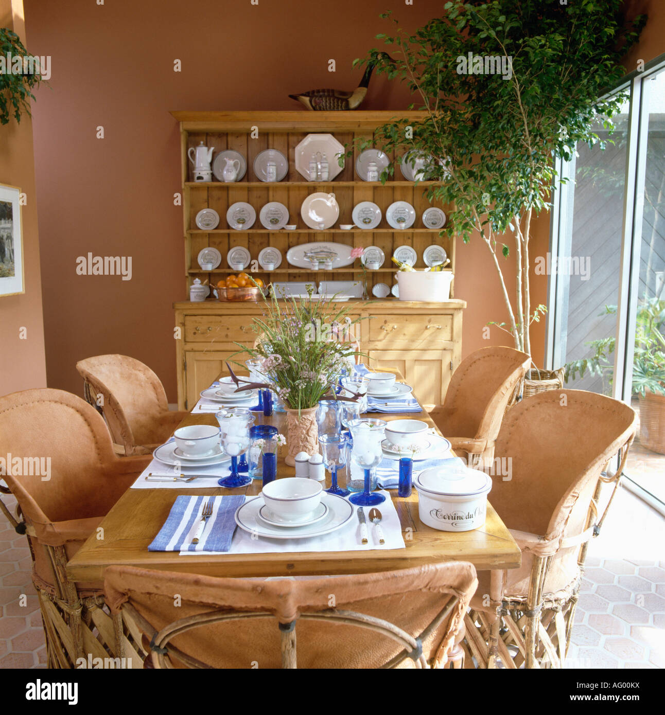 Pine Dresser And Leather Cane Chairs In Terracotta Dining Room With Tall Green Plant Corner Blue Glasses On The Table