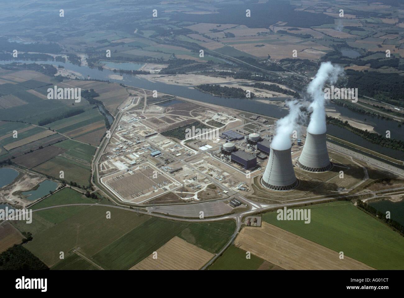 Aerial view aerien aerial vue aerienne centrale for Belleville sur loire piscine