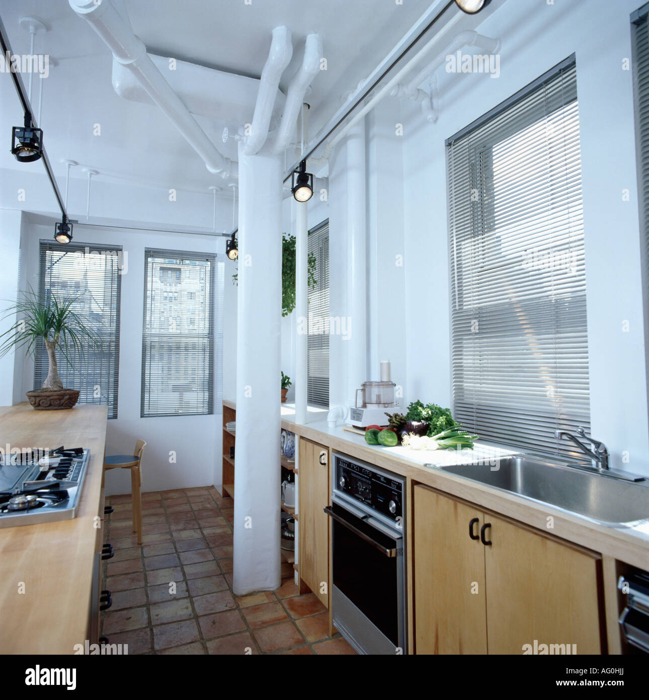 Terracotta floor tiles and white support pillar in modern white terracotta floor tiles and white support pillar in modern white city kitchen dailygadgetfo Gallery