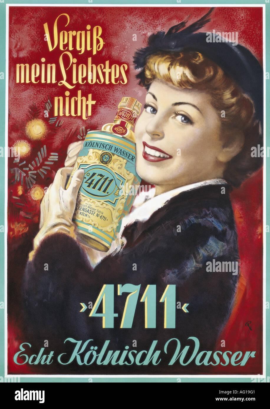 Poster design 50s -  Advertising Cosmetics Perfume 4711 Echt K Lnisch Wasser 1950s 50s Poster Design By Rh Fine Arts Perfume Toilet W