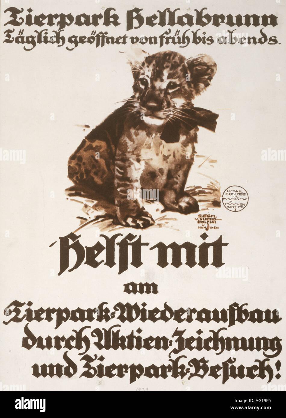 Poster design 1920s - Advertising Tourism Tierpark Hellabrunn Munich 1920s 20s Poster Design