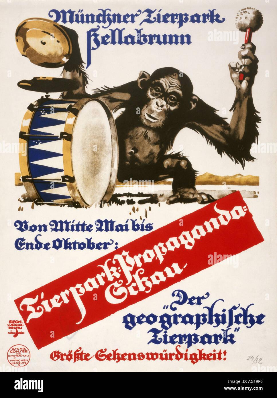 Poster design 1920s - Poster Design 1920s Stock Photo Advertising Tourism M Nchner Tierpark Hellabrunn Munich 1920s 20s Poster