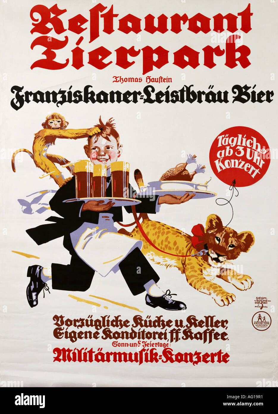 Poster design 1920s - Advertising Gastronomy Restaurants Retaurant Tierpark Munich 1920s 20s Poster