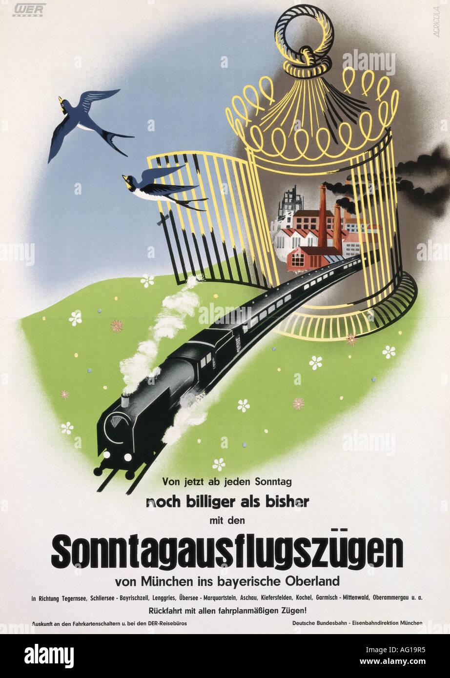 Poster design 50s - Stock Photo Advertising Transport Deutsche Bundesbahn Db Munich 1950s 50s Poster Design By Agricola Fine Arts Historical Histori