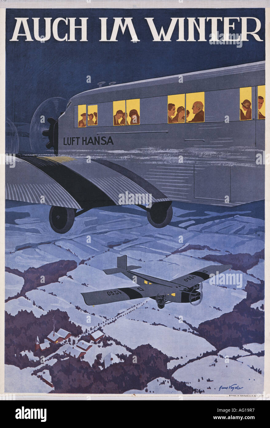 Poster design 1920s -  Advertising Transport Auch Im Winter Lufthansa Berlin 1920s