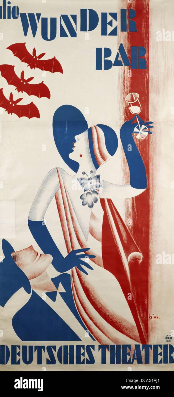 Poster design 1920s -  Festivity Balls And Parties Die Wunderbar Deutsches Theater Munich 1920s 20s Poster Design By Hermann Keimel 1899