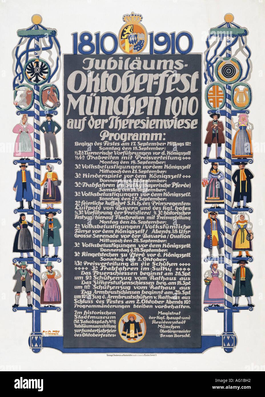 Poster design 1940 - Stock Photo Festivity Fairs Jubil Ums Oktoberfest Munich 1910 Poster Design By Paul Neu 1881 1940 Advertising Fine Arts Histo