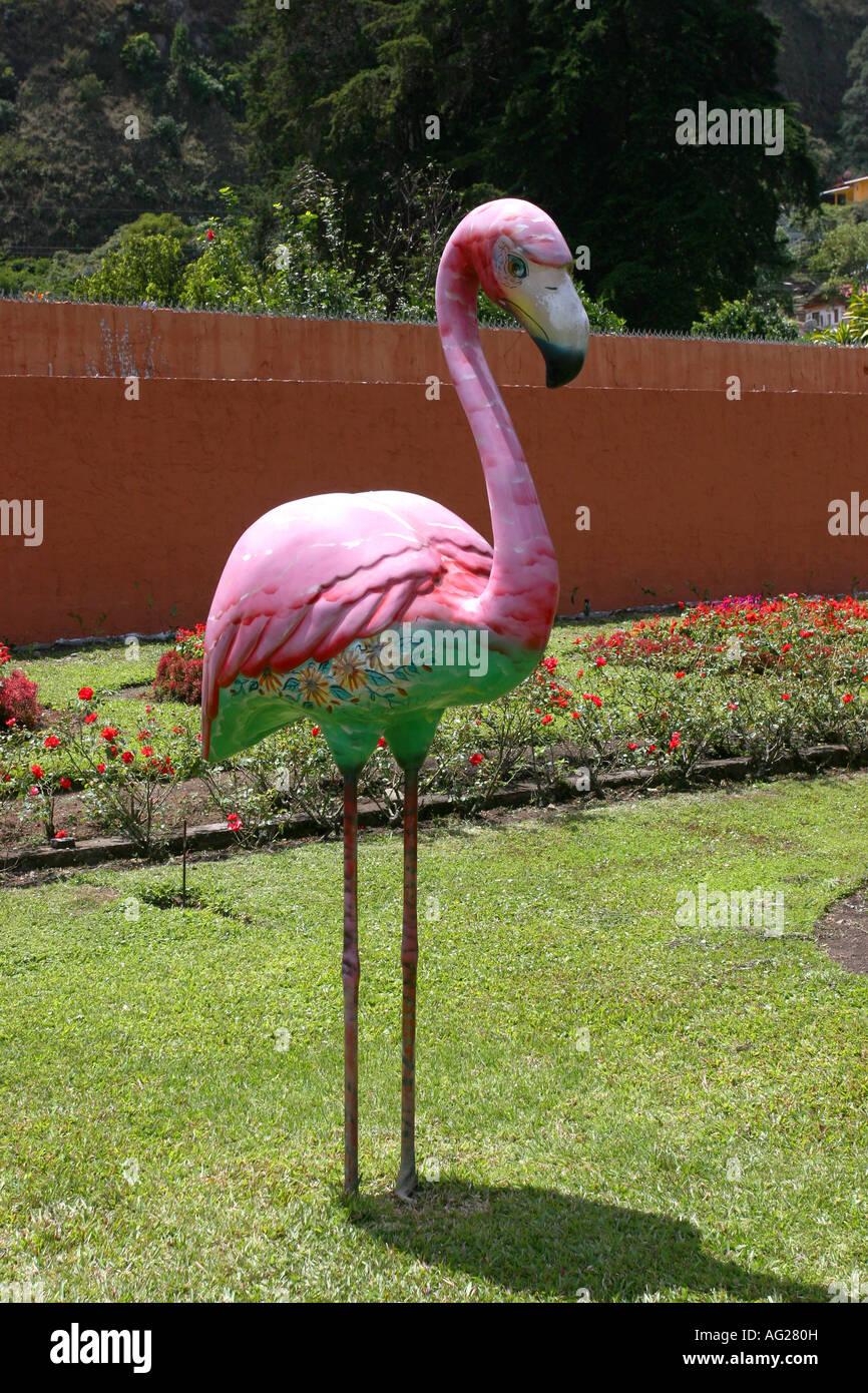 Decorative flamingo bird on a garden at Boquete Stock Photo ...