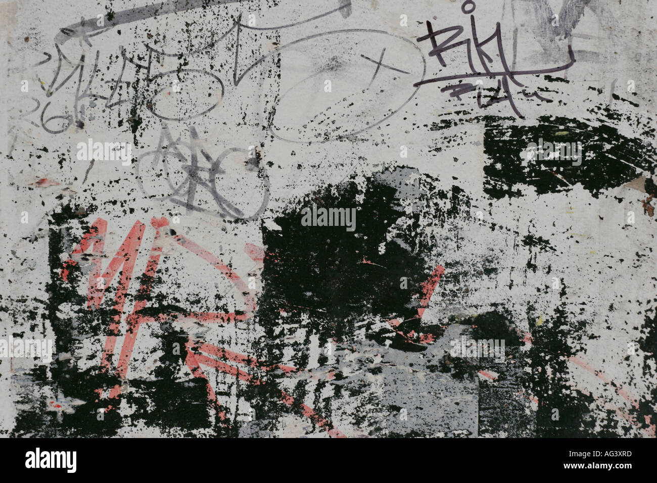 Graffiti wall writing - Graffiti And Abstract Accidental Paint On A Grey Wall With Red And Black Writing And Splodges