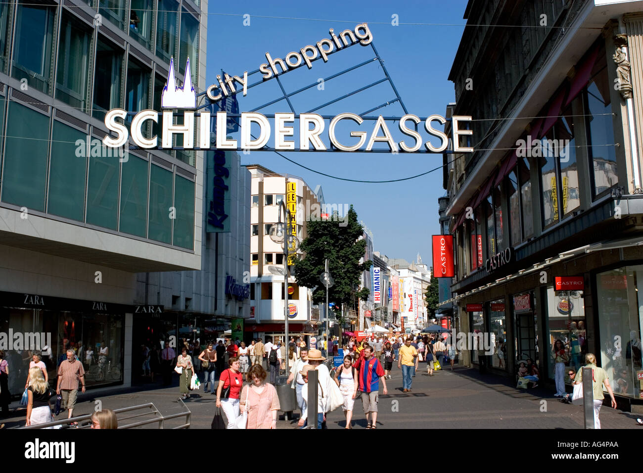 people walking in schildergasse a pedestrian street with many shop stock photo royalty free. Black Bedroom Furniture Sets. Home Design Ideas