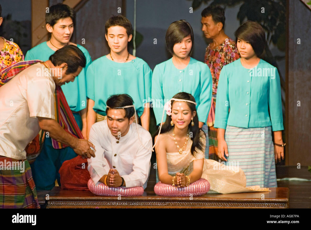 Thailand Traditional Thai Wedding Ceremony Reenactment At The Rose Stock Photo Royalty Free