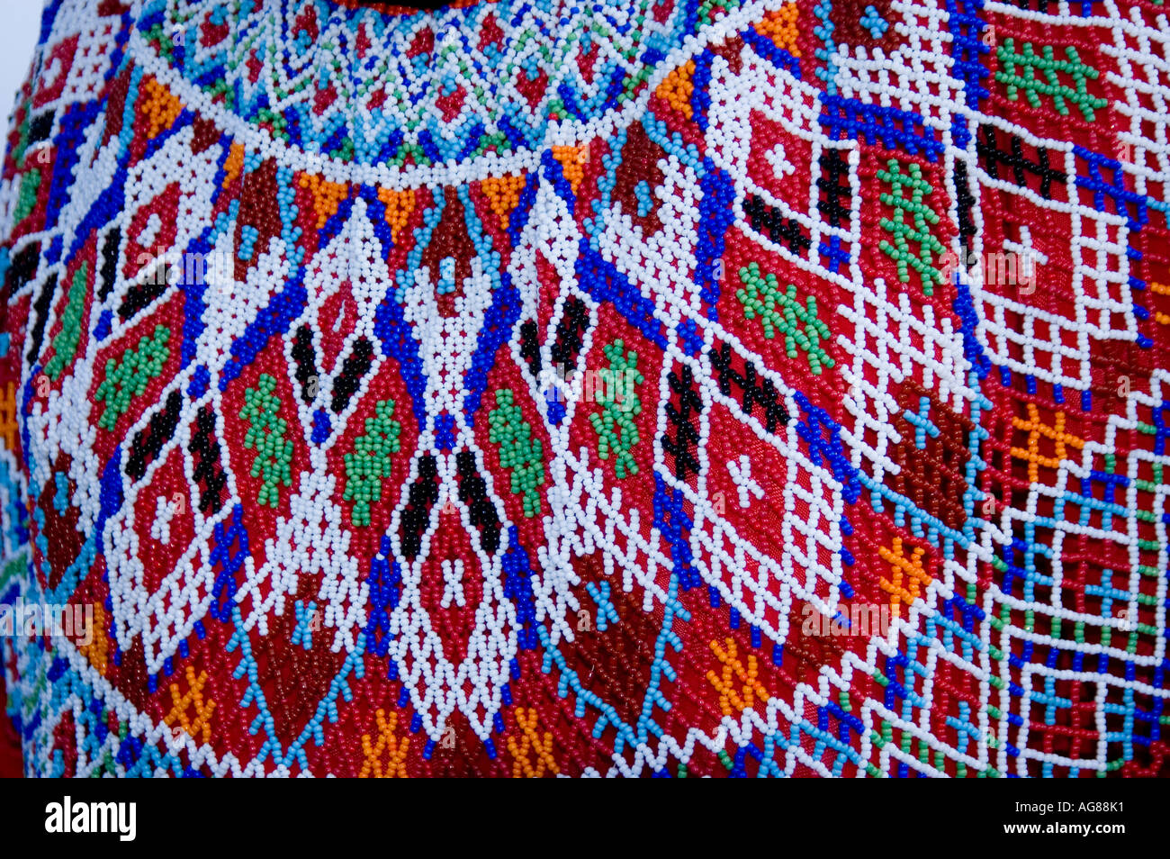 Beadwork of Inuit traditional wear Greenland, Umanak Stock Photo ...
