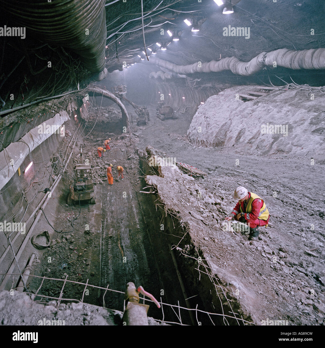 A Channel Tunnel Engineer Monitors Progress During The