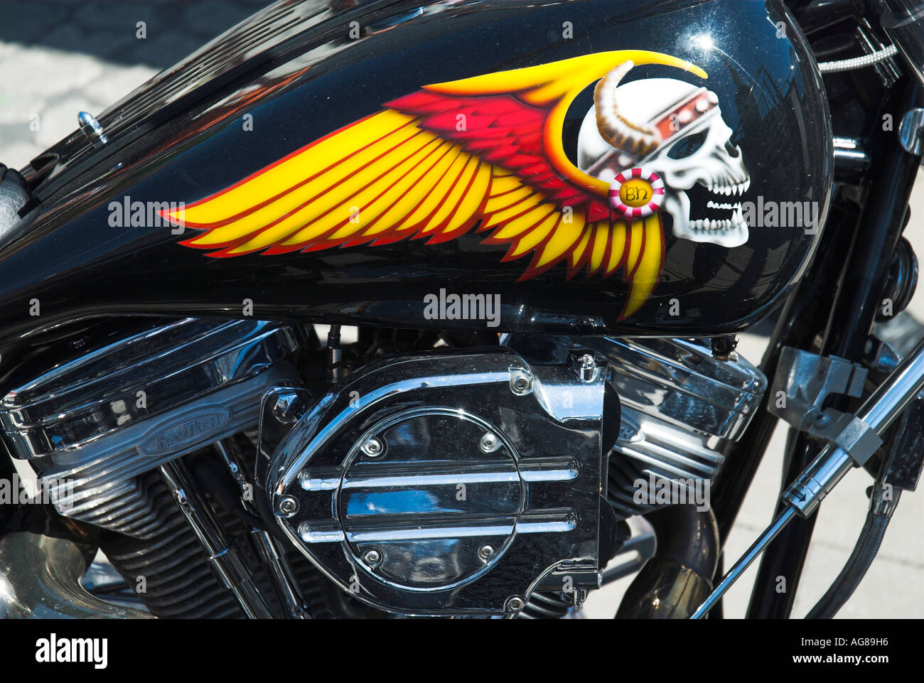 Stock Photo Painting Of Skull On The Fuel Tank Of A Harley Davidson Motorbike 8072917