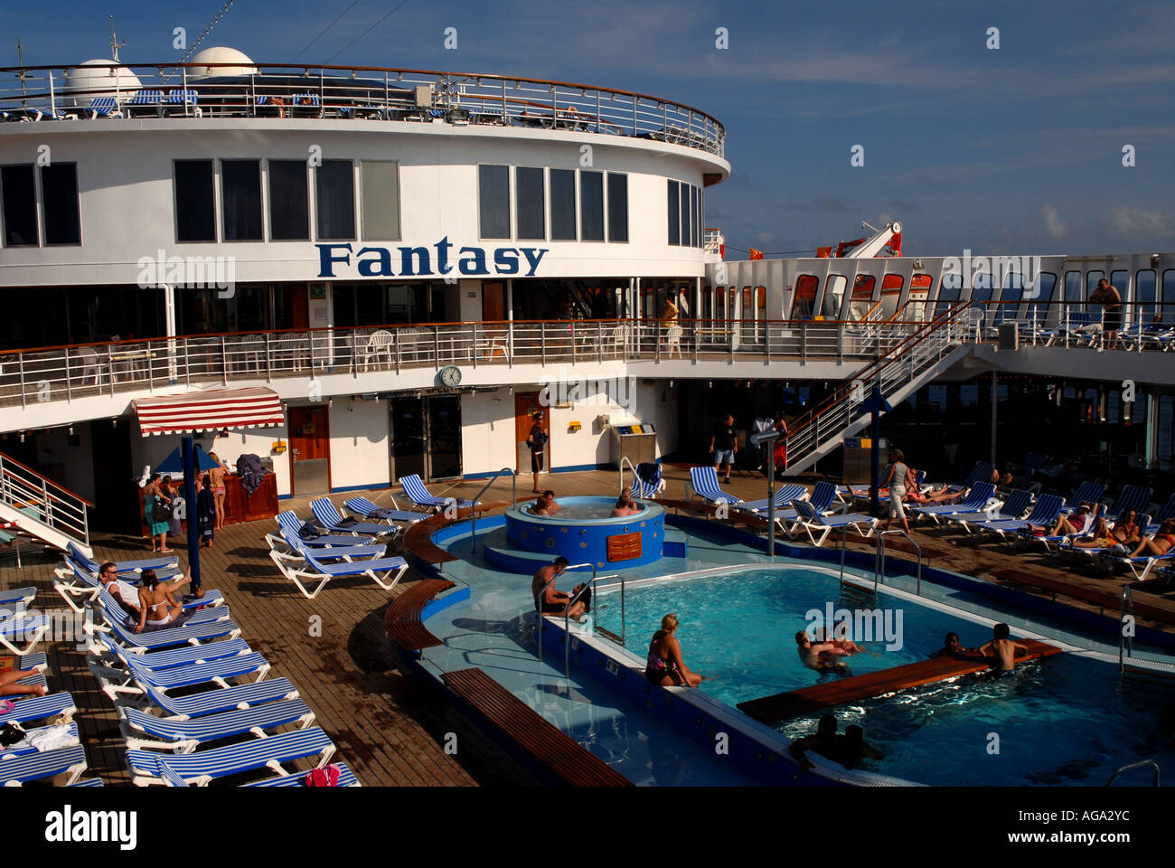 Cruise Ship Carnival Fantasy Swimming Pool Blue Lounge Chairs Stock Photo Royalty Free Image