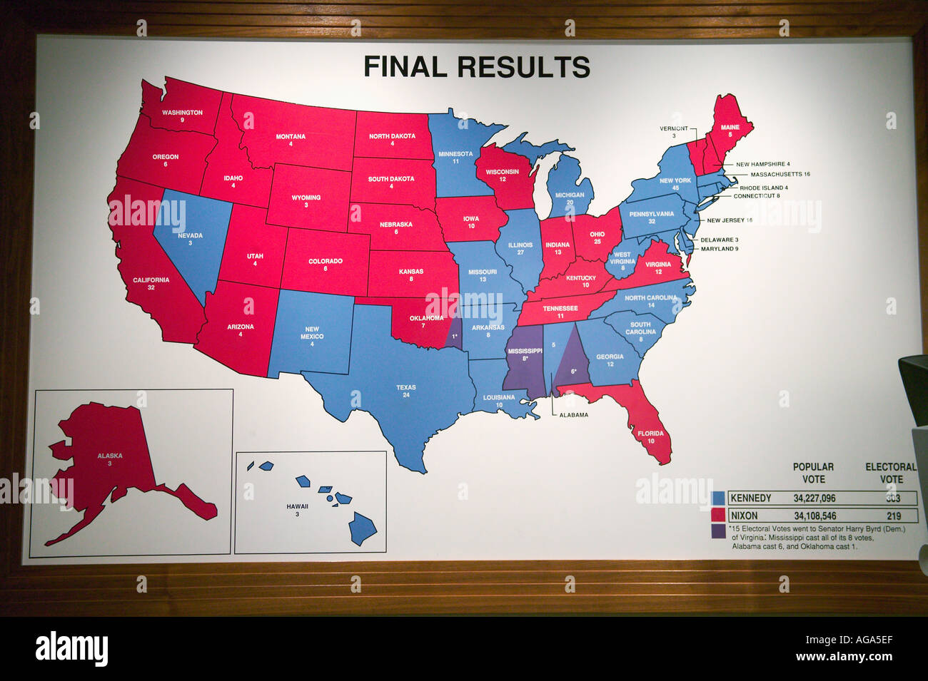 Stock Photo Usa Map Shows Presidential Election Voting Results In Campaign Trail Exhibits At John F Kennedy Library And Museum Boston Ma